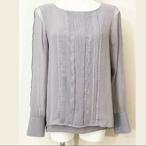 White House Black Market Gray Lace Trim Top Blouse
